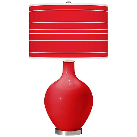 Bright Red Bold Stripe Ovo Table Lamp