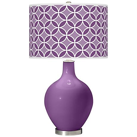Passionate Purple Circle Rings Ovo Table Lamp