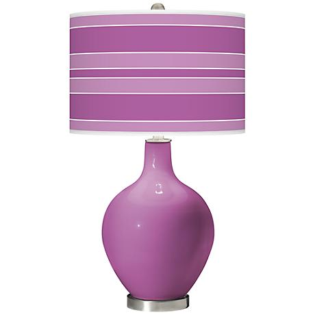 Pink Orchid - Bold Stripe Shade Ovo Table Lamp