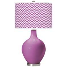 Radiant Orchid - Narrow Zig Zag Shade Ovo Table Lamp