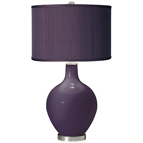 Quixotic Plum - Eggplant Faux Silk Shade Ovo Table Lamp