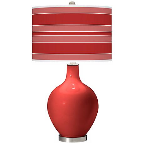 Cherry Tomato Bold Stripe Ovo Table Lamp