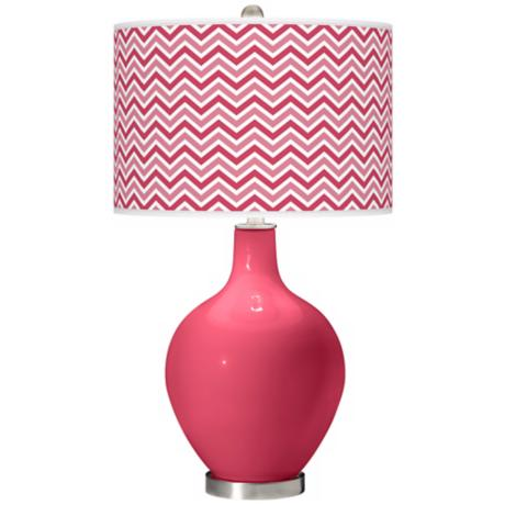Eros Pink Narrow Zig Zag Ovo Table Lamp