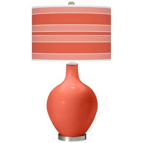 Modern Orange Bold Stripe Ovo Table Lamp