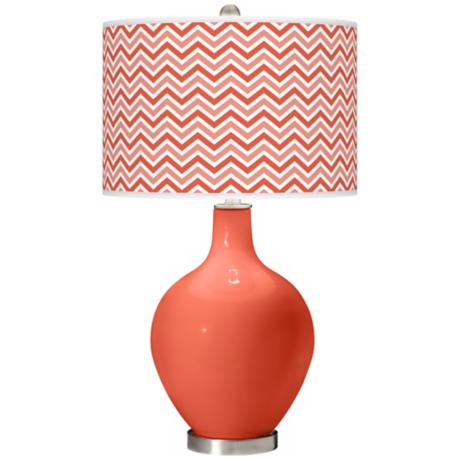 Modern Orange Narrow Zig Zag Ovo Table Lamp