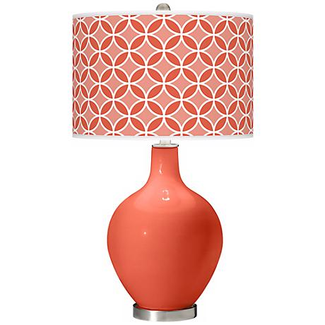 Daring Orange Circle Rings Ovo Table Lamp