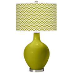 Olive Green Narrow Zig Zag Ovo Table Lamp