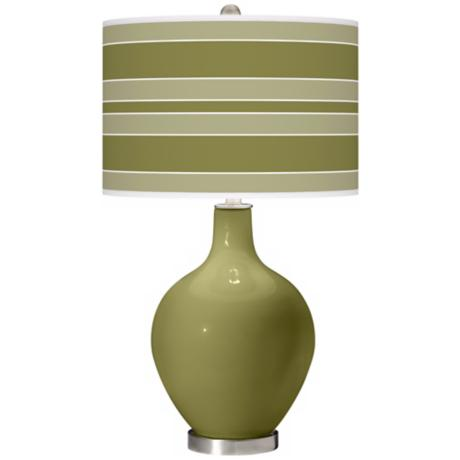 Rural Green Bold Stripe Ovo Table Lamp