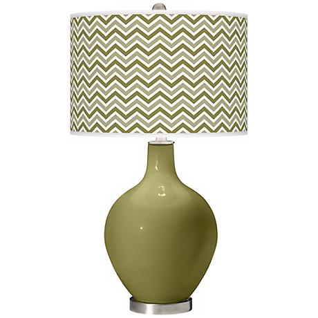 Rural Green Narrow Zig Zag Ovo Table Lamp