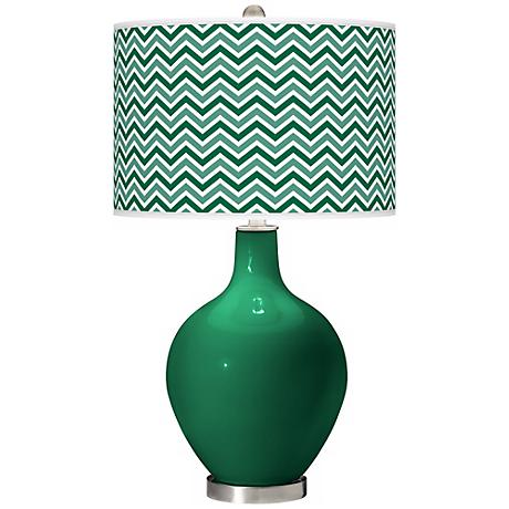 Greens Narrow Zig Zag Ovo Table Lamp