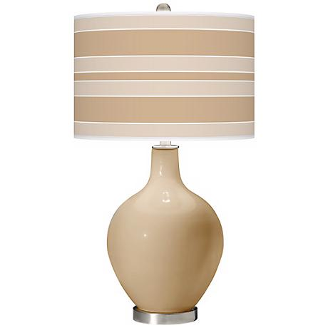 Colonial Tan Bold Stripe Ovo Table Lamp