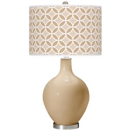 Colonial Tan Circle Rings Ovo Table Lamp