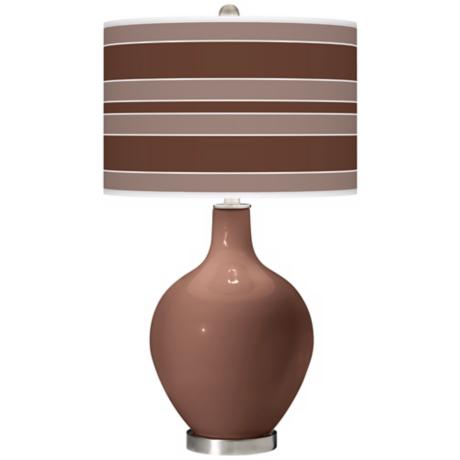 Rugged Brown Bold Stripe Ovo Table Lamp