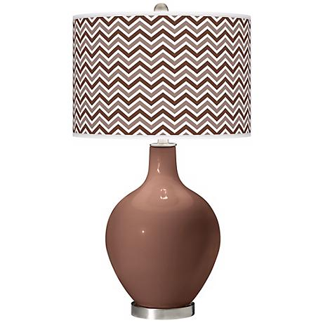 Rugged Brown Narrow Zig Zag Ovo Table Lamp