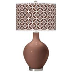 Rugged Brown Circle Rings Ovo Table Lamp