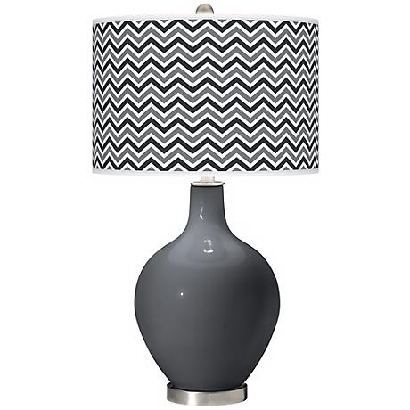 Black of Night Narrow Zig Zag Ovo Table Lamp