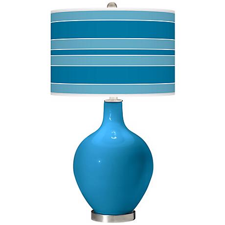 River Blue Bold Stripe Ovo Table Lamp