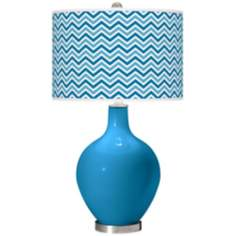 River Blue Narrow Zig Zag Ovo Table Lamp