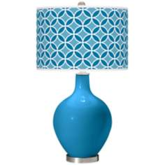 River Blue Circle Rings Ovo Table Lamp