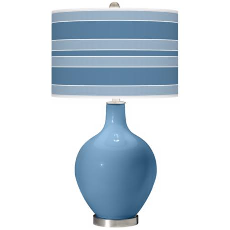 Secure Blue Bold Stripe Ovo Table Lamp