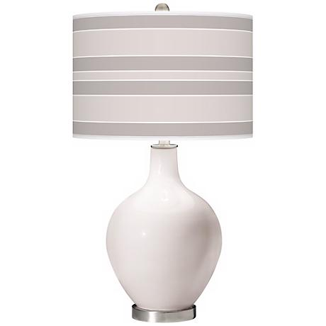 Smart White Bold Stripe Ovo Table Lamp
