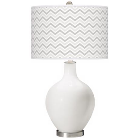 Winter White Narrow Zig Zag Ovo Table Lamp