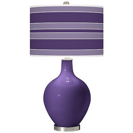 Izmir Purple Bold Stripe Ovo Table Lamp