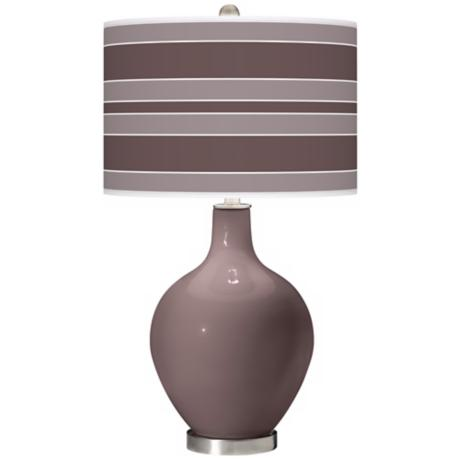 Deepest Mauve Bold Stripe Ovo Table Lamp