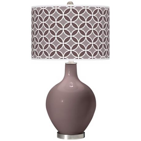 Deepest Mauve Circle Rings Ovo Table Lamp