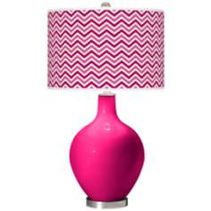 French Burgundy Narrow Zig Zag Ovo Table Lamp