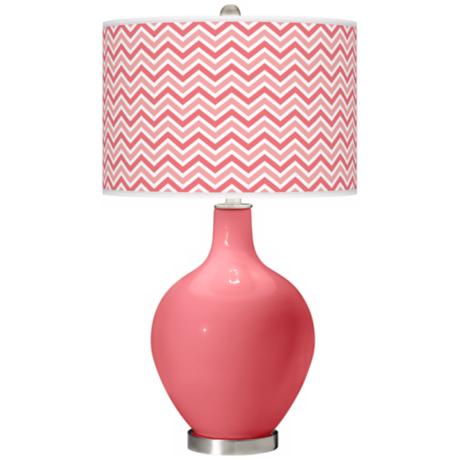 Rose Narrow Zig Zag Ovo Table Lamp