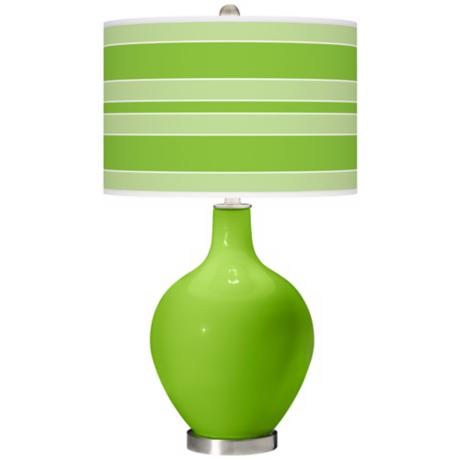 Neon Green Bold Stripe Ovo Table Lamp