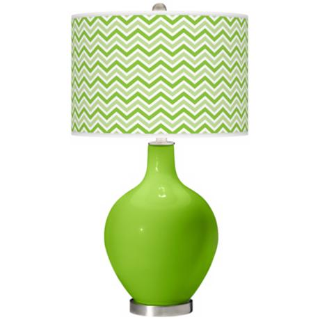 Neon Green Narrow Zig Zag Ovo Table Lamp