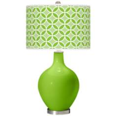 Neon Green Circle Rings Ovo Table Lamp