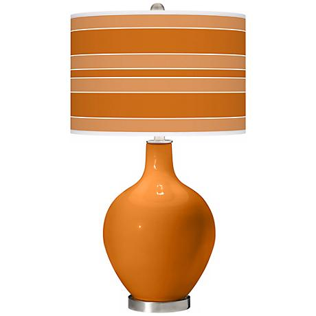 Cinnamon Spice Bold Stripe Ovo Table Lamp
