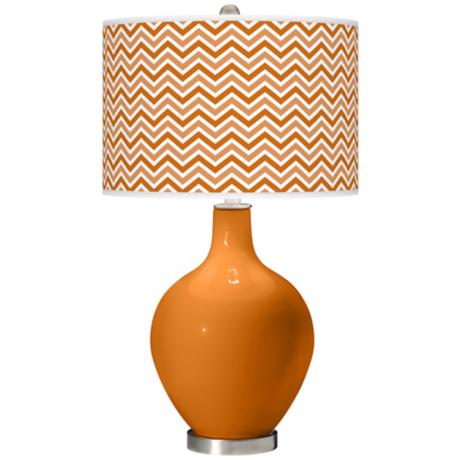 Cinnamon Spice Narrow Zig Zag Ovo Table Lamp