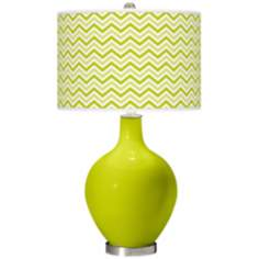 Pastel Green Narrow Zig Zag Ovo Table Lamp