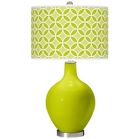 Pastel Green Circle Rings Ovo Table Lamp
