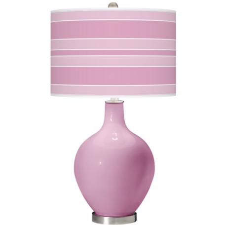 Pink Pansy Bold Stripe Ovo Table Lamp