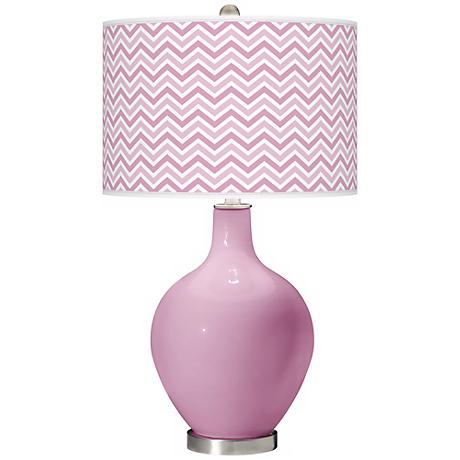 Pink Pansy Narrow Zig Zag Ovo Table Lamp