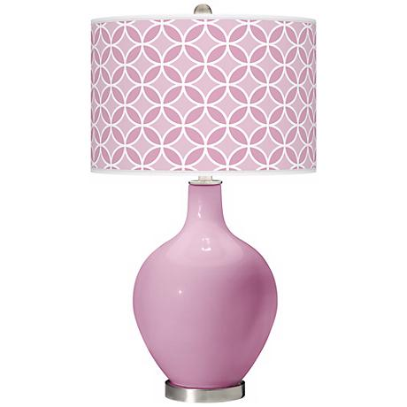 Pink Pansy Circle Rings Ovo Table Lamp