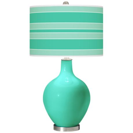 Turquoise Bold Stripe Ovo Table Lamp