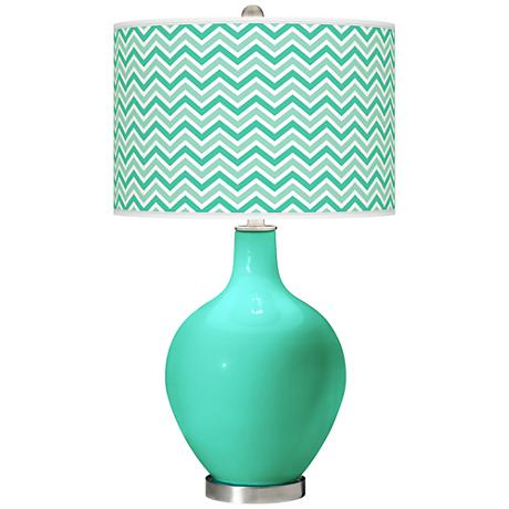 Turquoise Narrow Zig Zag Ovo Table Lamp