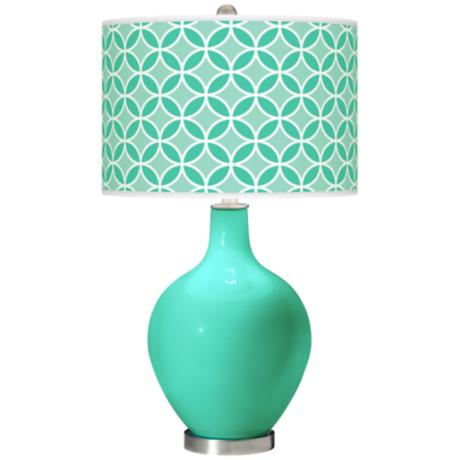 Turquoise Circle Rings Ovo Table Lamp