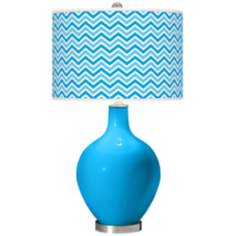Sky Blue Narrow Zig Zag Ovo Table Lamp