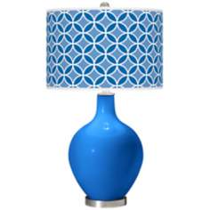 Royal Blue Circle Rings Ovo Table Lamp