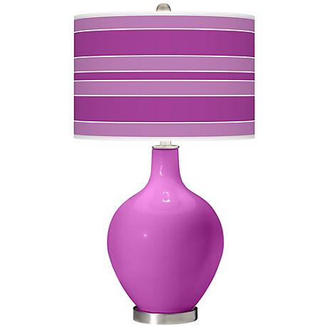 Peony Purple Bold Stripe Ovo Table Lamp