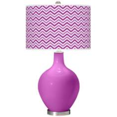 Peony Purple Narrow Zig Zag Ovo Table Lamp