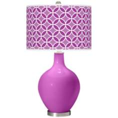 Peony Purple Circle Rings Ovo Table Lamp