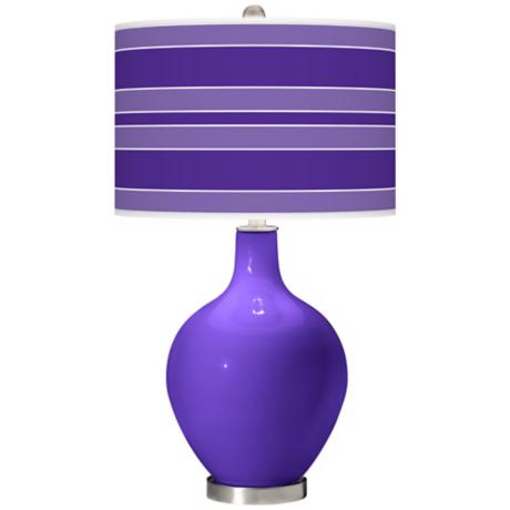 Violet Bold Stripe Ovo Table Lamp